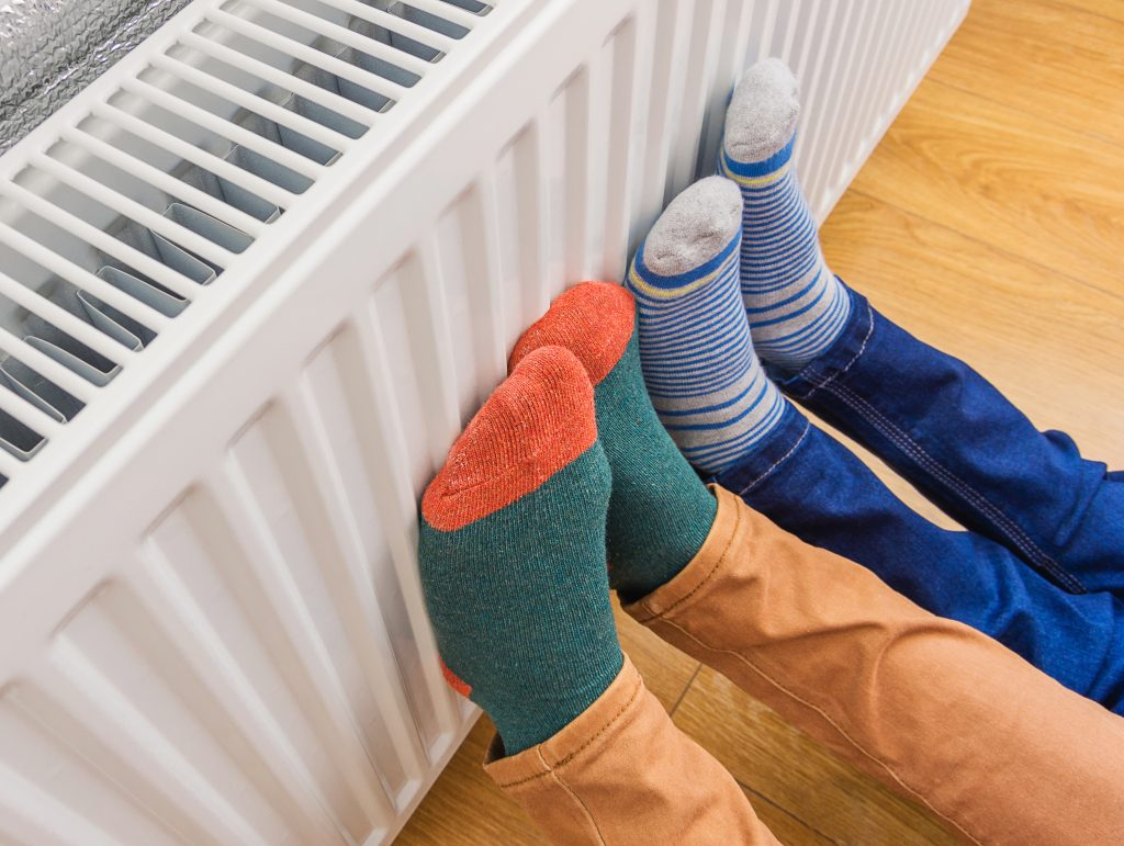 Woman,And,Child,Wearing,Colorful,Pair,Of,Woolly,Socks,Warming